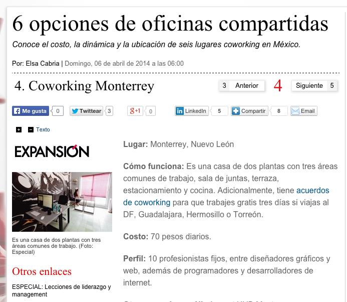 Artículo 6 Opciones de oficinas compartidas - Coworking Monterrey